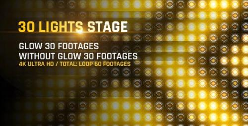 Videohive - 30 Lights Stage 4K Loop Footage/ Gold Award Led Light Stage Backgrounds/ Strobe Dance Party Concert