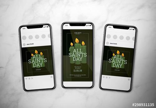 All Saints Day Social Media Post Layout Set - 298931135 - 298931135