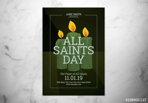 All Saints Day Event Flyer Layout with Illustrated Candles - 298931137 - 298931137