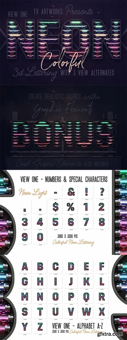 Colorful Neon 3D Lettering View 1