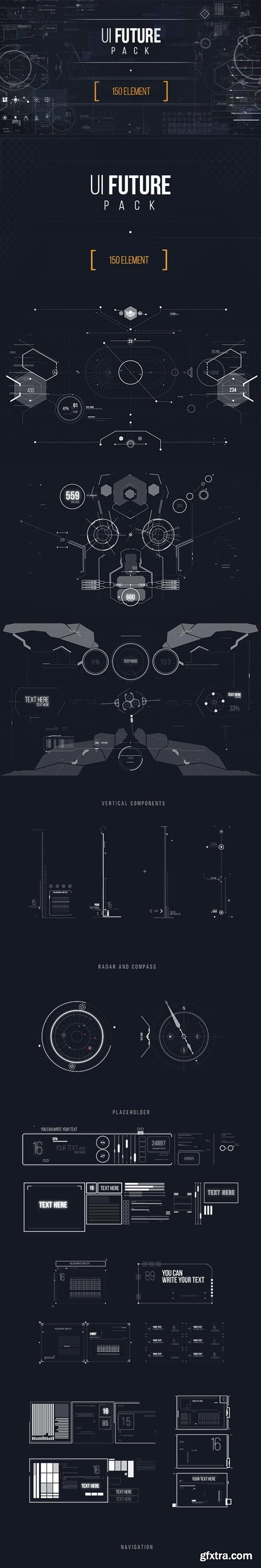 Videohive - UI FUTURE PACK Footage Pack/ Ultimate Interface Screens/ Icons/ Target/ Grid/ Sci-fi and Technology - 17465573