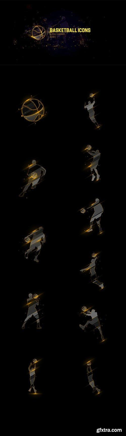 Videohive - 11 Basketball Icons Footage/ Sports and Actions/ Light and Gold Paricle/ NBA Games TV Broadcast Id - 20251722