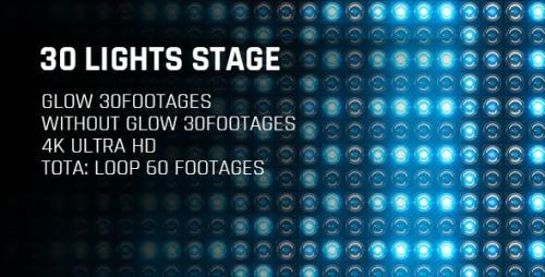 Videohive - 30 Lights Stage Blue Glow 4K Loop Footages/ Cold Award Led Light Stage Backgrounds/ Star Dance Party