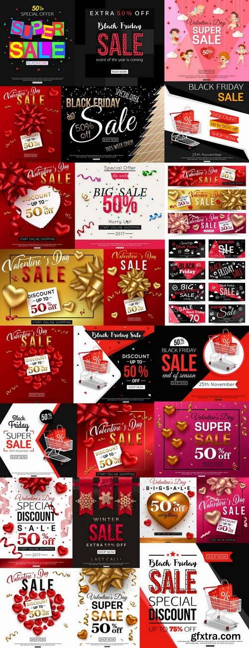 Valentines Day flyer banner Black Friday discount sale vector image 25 EPS