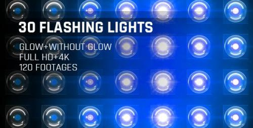 Videohive - 120 Flashing Light Full HD and 4K Blue Glow Loop Footages/ Cold Award Led Light Stage Backgrounds
