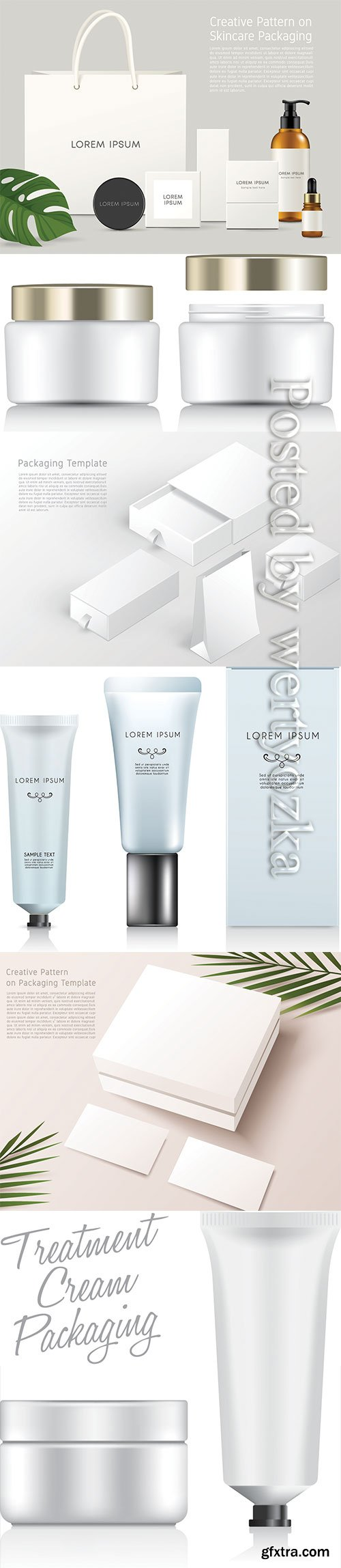 Make up and skincare packaging vector template # 3