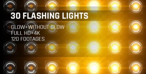 Videohive - 120 Flashing Light Full HD and 4K Warm Glow Loop Footages/ Gold Award Led Light Stage Backgrounds