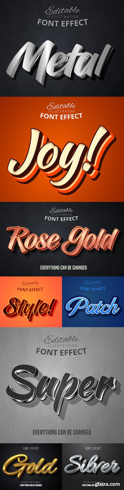 3d font effect editable text collection illustration 7