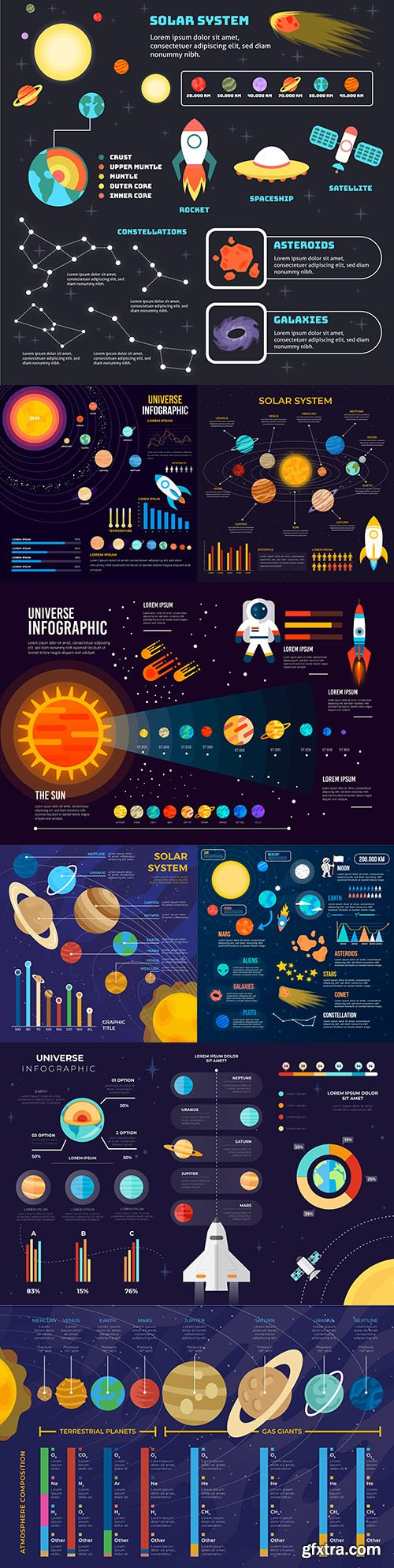 Universe of infographics with planets and spaceships 2