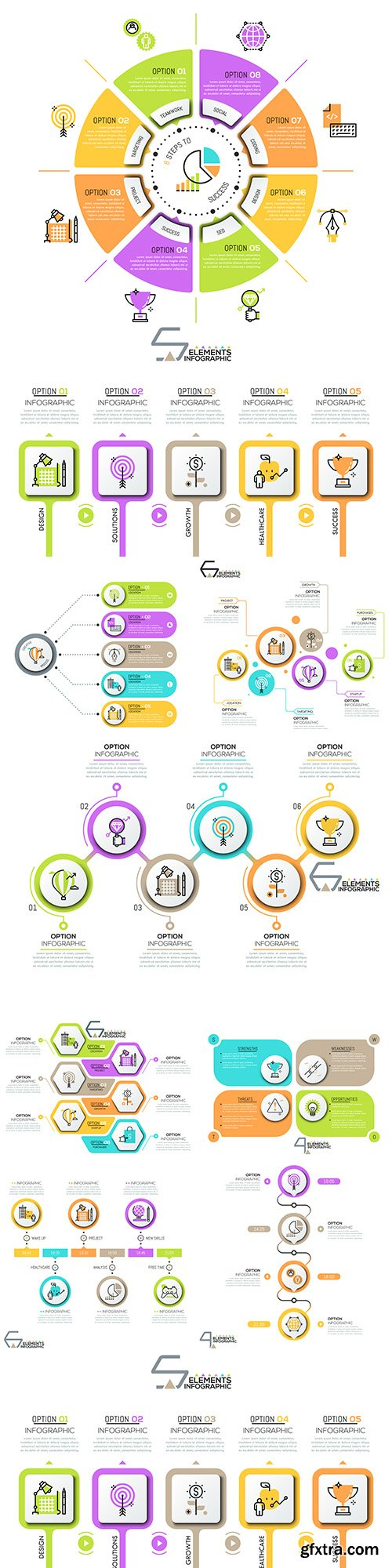 Business infographics options elements collection 127