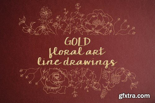 Floral Line Drawings in Gold