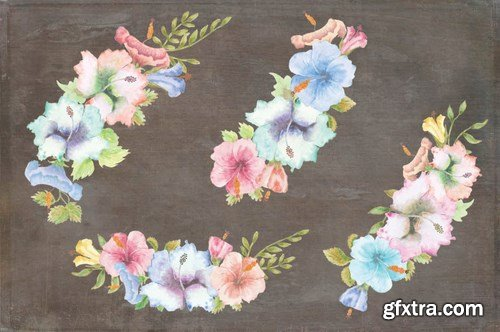 Hibiscus Bundle Pastel Handpainted Watercolors