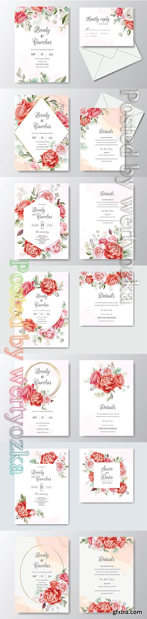 Wedding invitations with beautiful flowers and sophisticated design