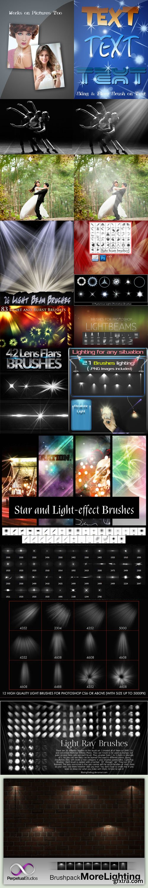 365 Light & Lens Flare Photoshop Brushes Collection