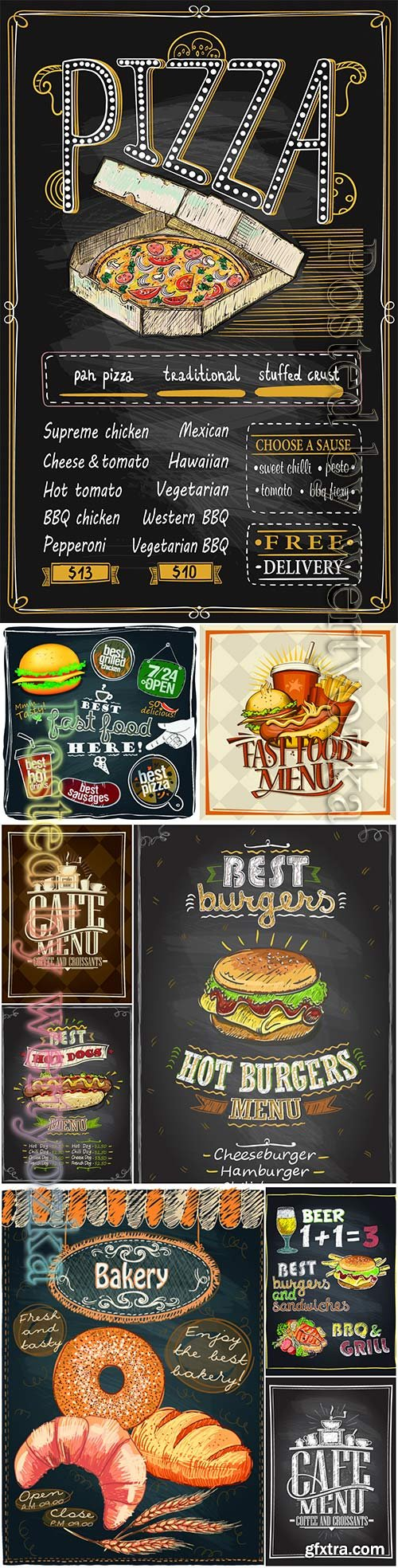 Cafe menu card design, fast food, pizza