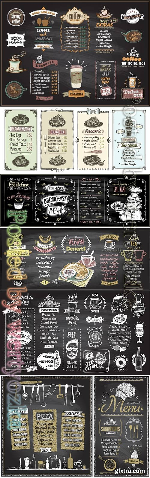 Menu list designs set for cafe or restaurant