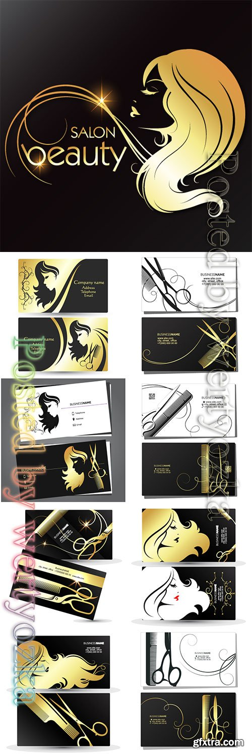 Silhouette of a girl with hair golden curls, symbol for beauty salon and hairdresser