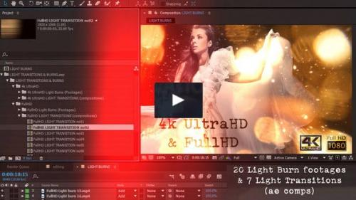 Videohive - Light transitions & burns (AE project & footages)