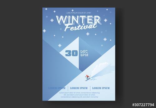 Winter Festival Mountain Skier Flyer Layout - 307227794 - 307227794