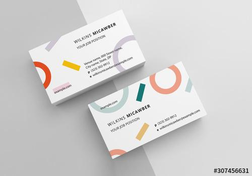 Business Card Layout with Abstract Pattern - 307456631 - 307456631