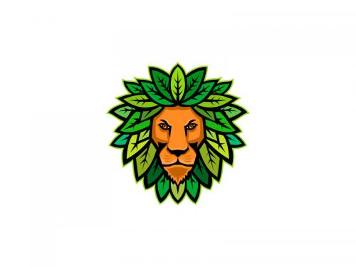 Lion With Leaves As Mane Mascot - lion-with-leaves-as-mane-mascot