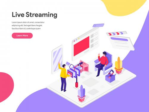 Live Streaming Isometric Illustration Concept - live-streaming-isometric-illustration-concept