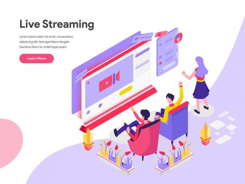 Live Streaming Isometric Illustration - live-streaming-isometric-illustration