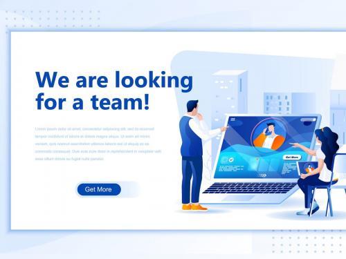 Looking Team Flat Landing Page Header - looking-team-flat-landing-page-header
