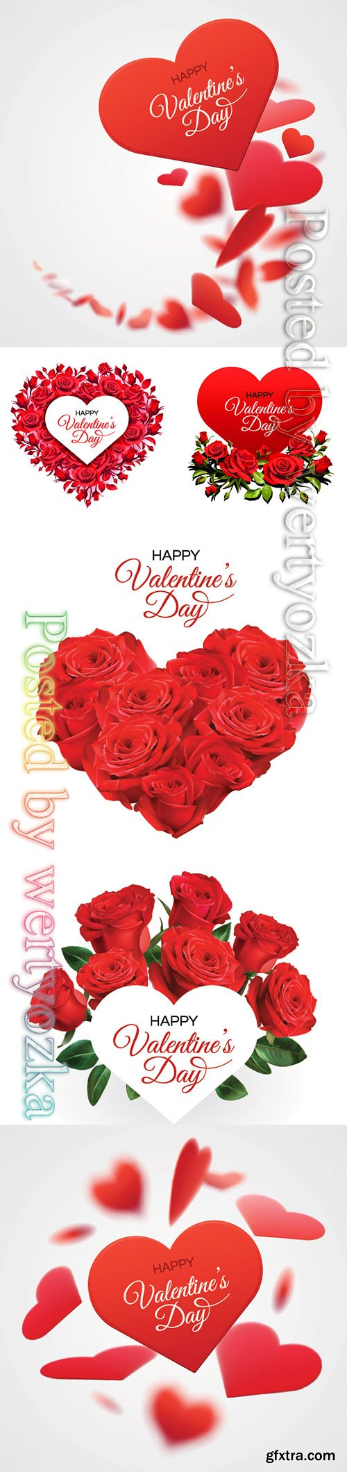 Valentine's Day greeting card template, red roses