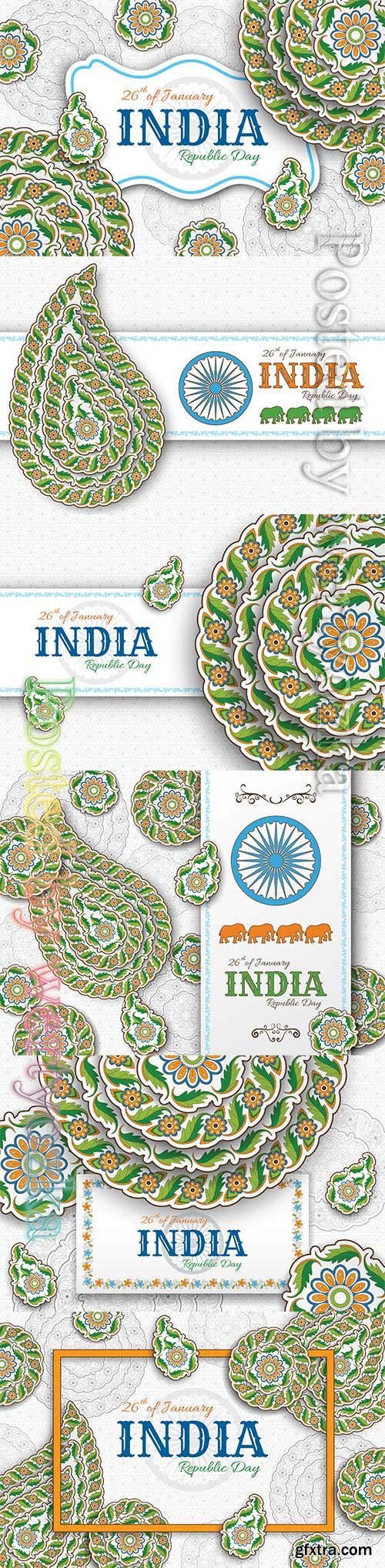 Indian Republic Day background with paisley and mandala