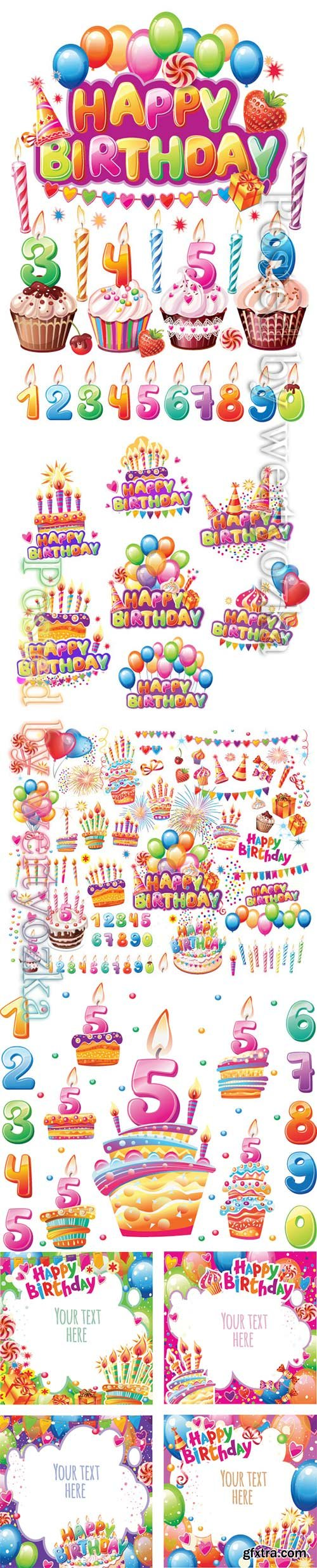 Birthday party set vector elements