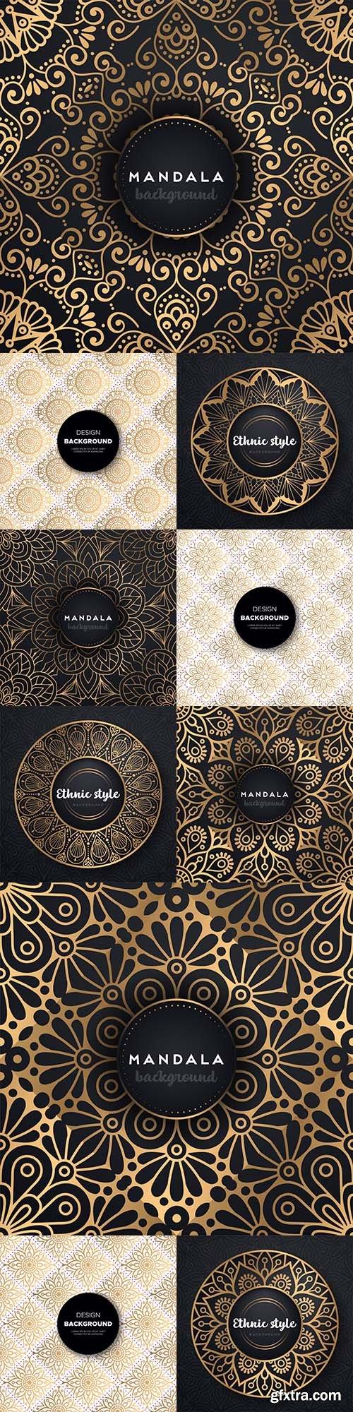 Mandala golden background and luxury wedding invitation