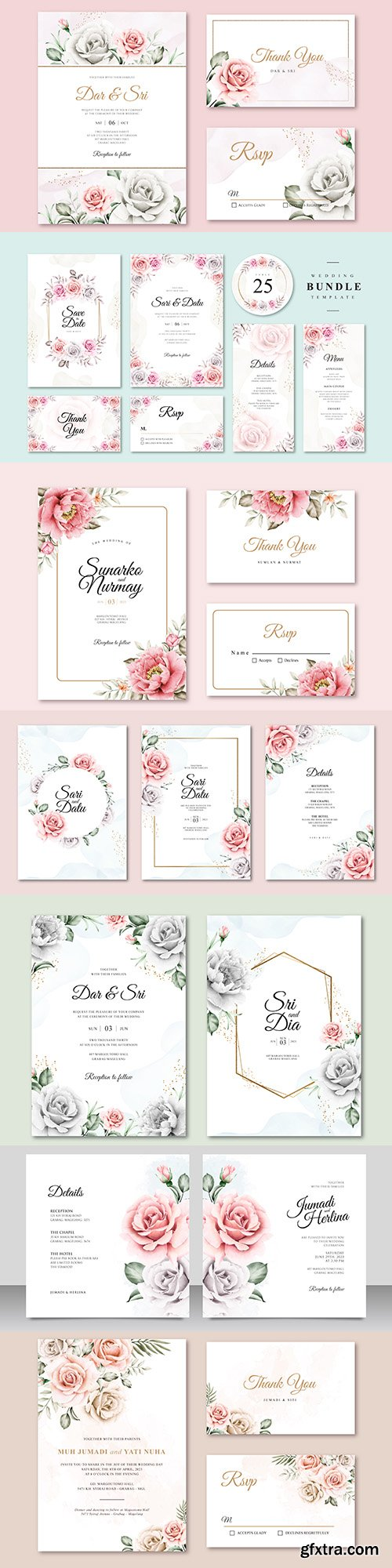 Wedding invitations floral elegant decorative template 6