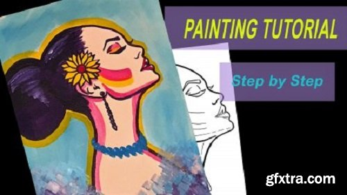 ACRYLIC PAINTING Tutorial + FREE TRACEABLE to Paint along- EASY Step by Step for beginners