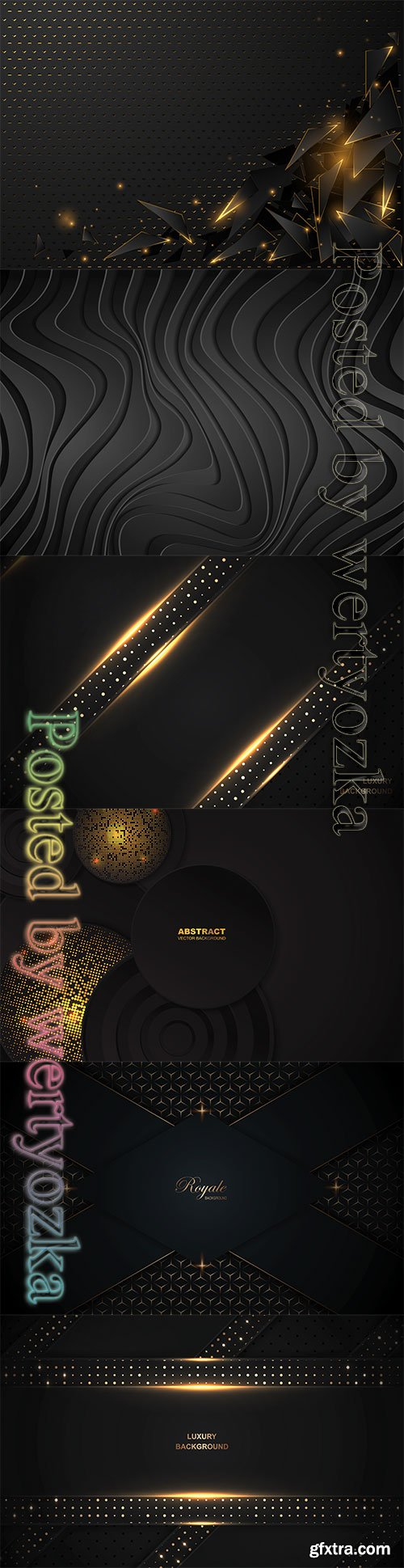 Luxury black background a combination with golden light and dots glitters