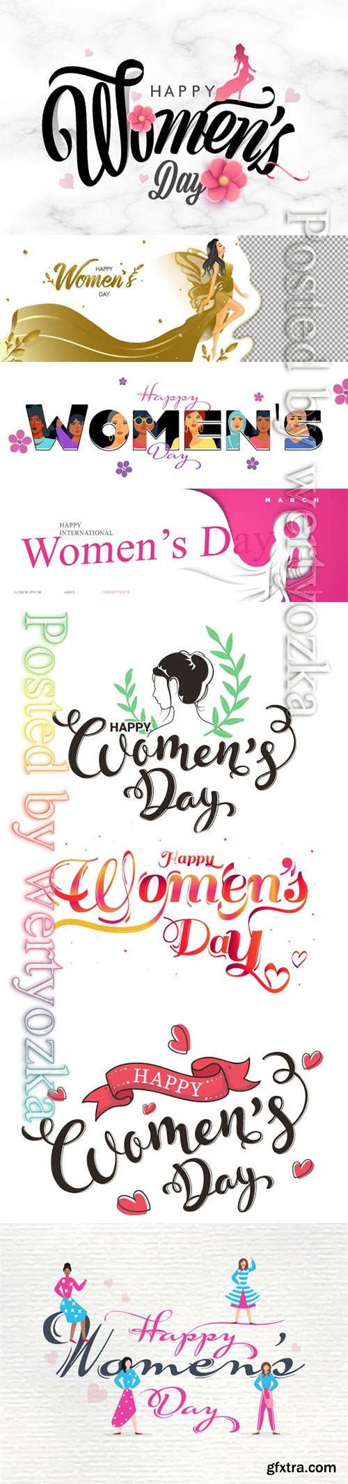 Stylish Happy Women's Day text decorated
