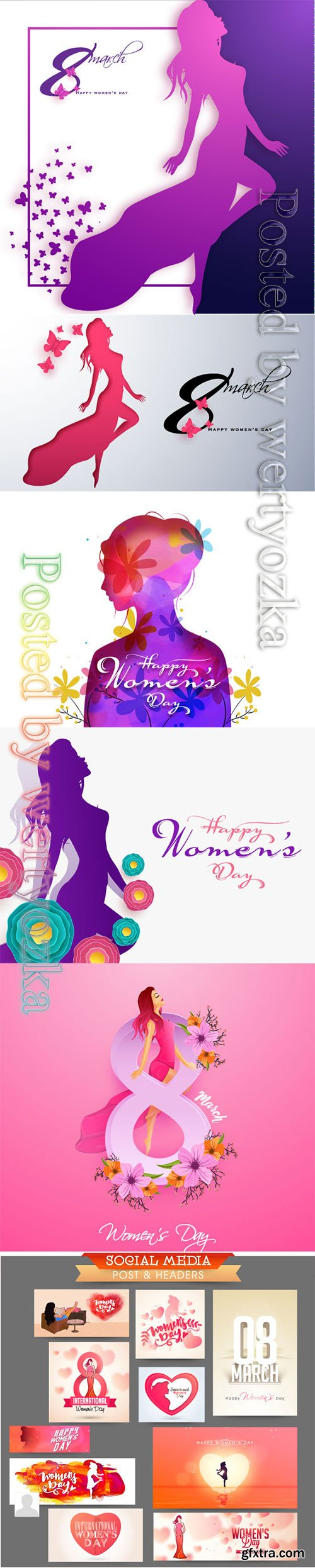 Happy Women's Day greeting card design with beautiful lady