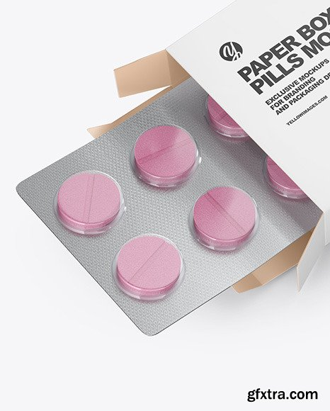 Opened Paper Box & Pills Mockup - Halfside view high angle shot 53521