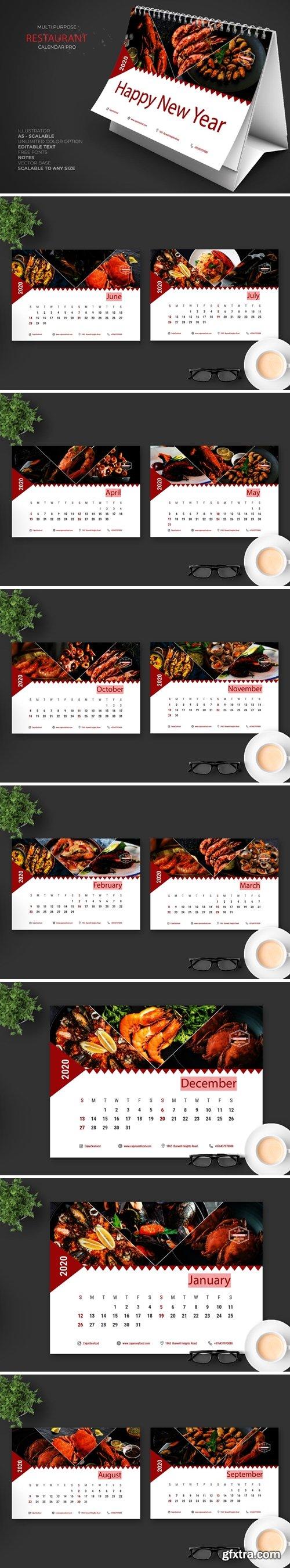 2020 Seafood Restaurant Calendar Pro