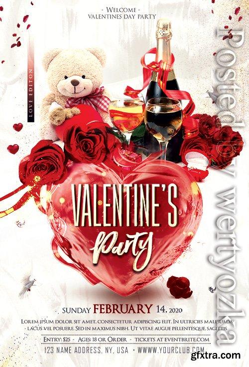 Valentines Love Party - Premium flyer psd template