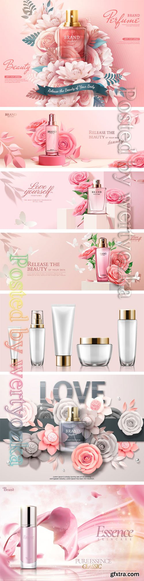 Make up and skincare packaging vector template # 6