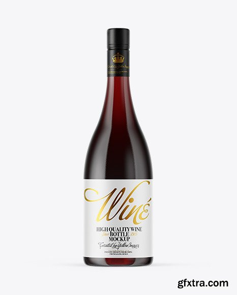 Clear Glass Red Wine Bottle Mockup 53817