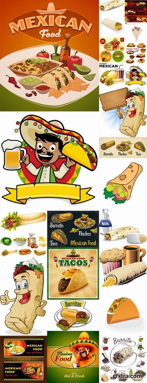 Burrito taco Mexican food flyer banner vector image 25 EPS