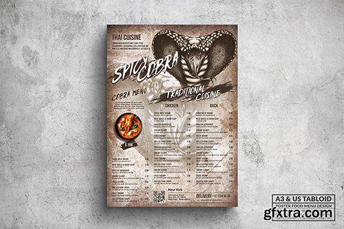 Spicy Cobra Poster Food Menu - A3 & US Tabloid
