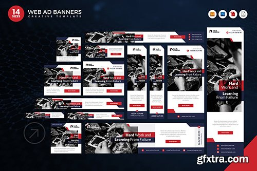 14 Modern Technology Web Ad Banners Set