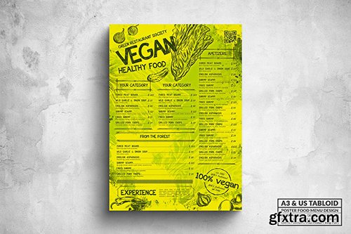 Vegan Poster Food Menu - A3 & US Tabloid