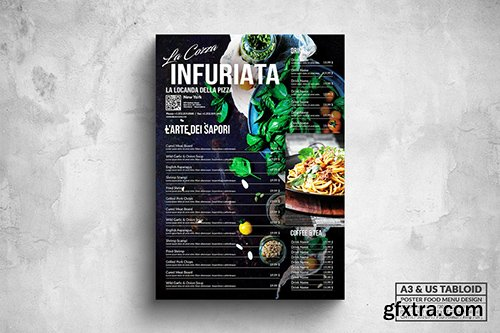 Elegant Dark Poster Food Menu - A3 & US Tabloid