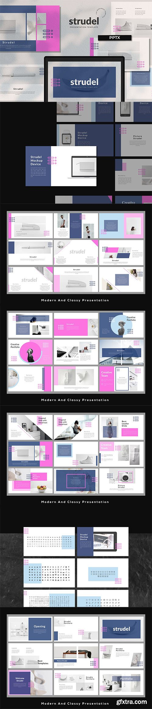 Strudel Business Presentation Powerpoint, Keynote and Google Slides Template