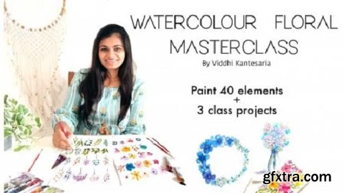 Watercolour floral master class- Loose florals, fillers and leaves (40 elements + 3 class projects)