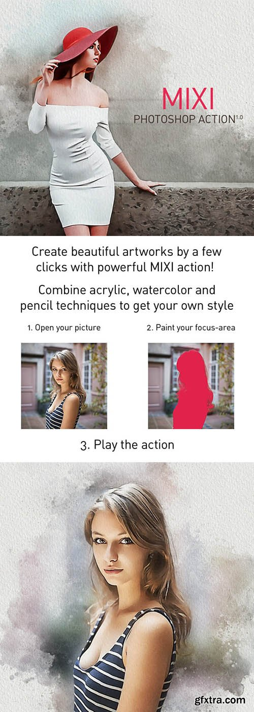 Graphicriver - MIXI Acrylic + Watercolor + Pencil Sketch Photoshop Action 25312701